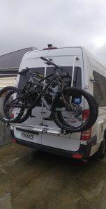 Mountain bike onboard campervan